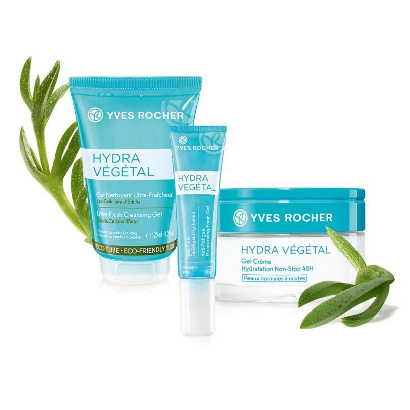 תמונת מוצר - שגרת טיפוח הידרה וג'טל ללחות מוגברת וחידוש מרקם העור מסדרת Hydra Vegetal New - מחיר המוצר 229.0000 ש״ח