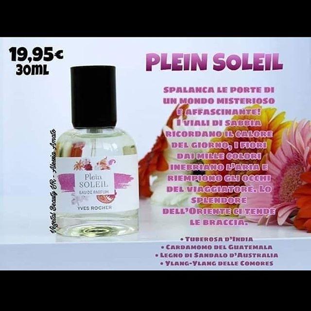 """Photo by Francy 💚 on September 18, 2019. Image may contain: text that says '19,95€ 30ML PLEIN SOLEIL SPALANCA LE PORTE DI UN INMONDO MISTERIOSO AFFASCINANTE! VIALI DI SABBIA 1pa RICORDANO CALORE DEL GIORNO, FIORI """"oa DAI MILLE COLORI INEBRIANO PARIA CS Plein RIEMPIONO OCCHI SOLEIL DEL VIAGGIATORE.L LO Coy EAUDE SPLENDORE WES.ROCHER DELL'O L'EENE TENDE LIE BRACCIA. TUBEROSA D'INDIA CARDAMOMO GUATEMALA LEGNO SANDALO 'AUSTRALIA YLANG YLANG DELLE COMORES'"""
